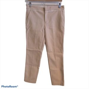 Ecru Straight Leg Mid Rise Contrast Trim Trouser